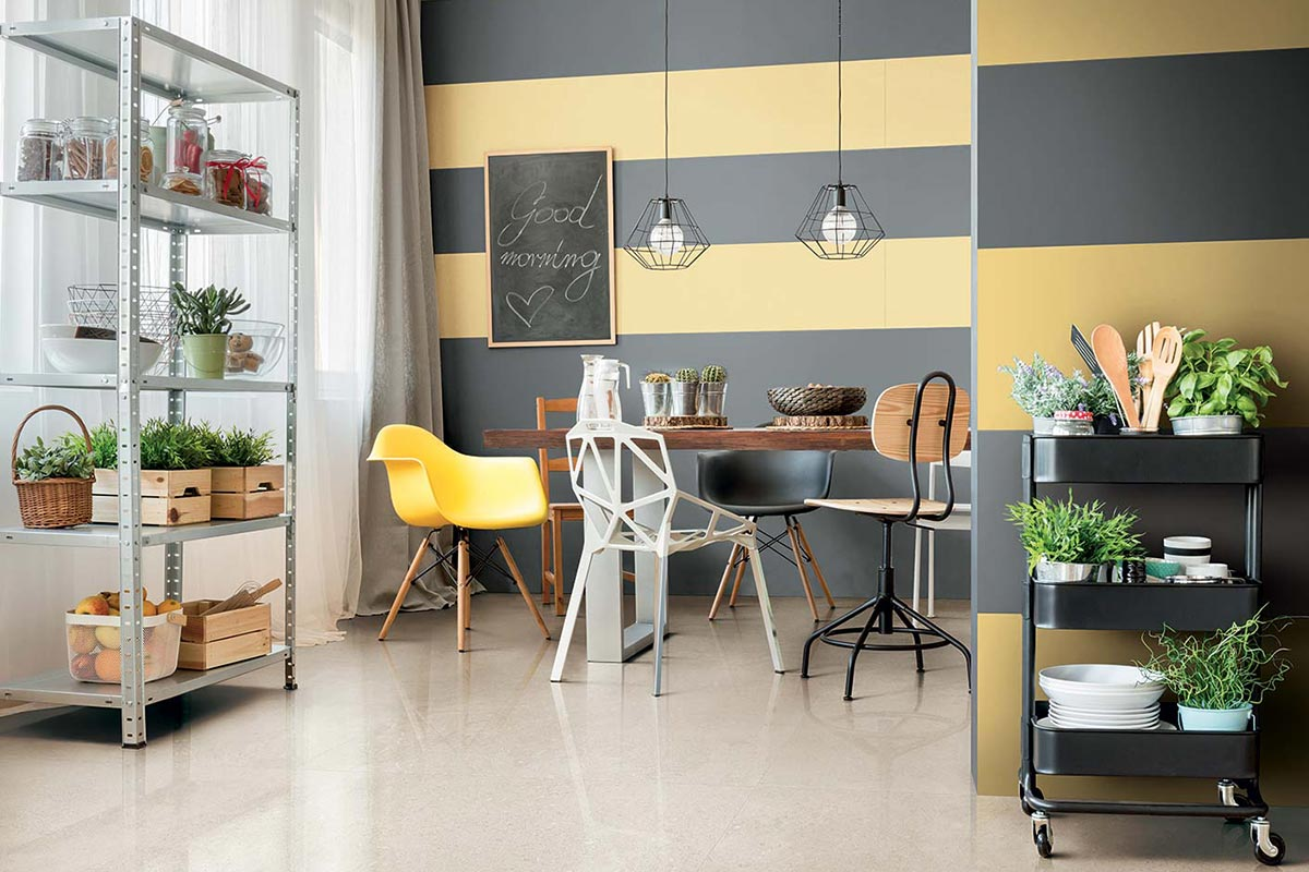Porcelain Stoneware Yellow And Grey Stripes